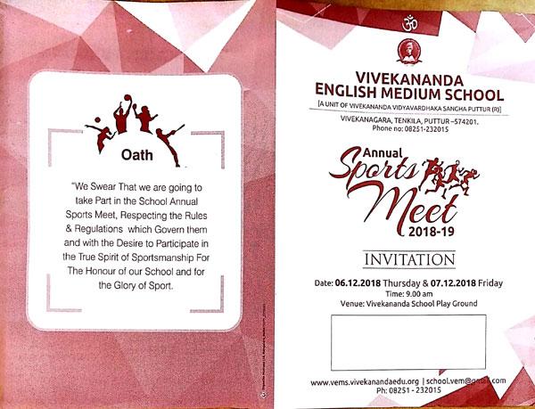 Dec 6 Annual Sports Meet 2018 Vivekananda English
